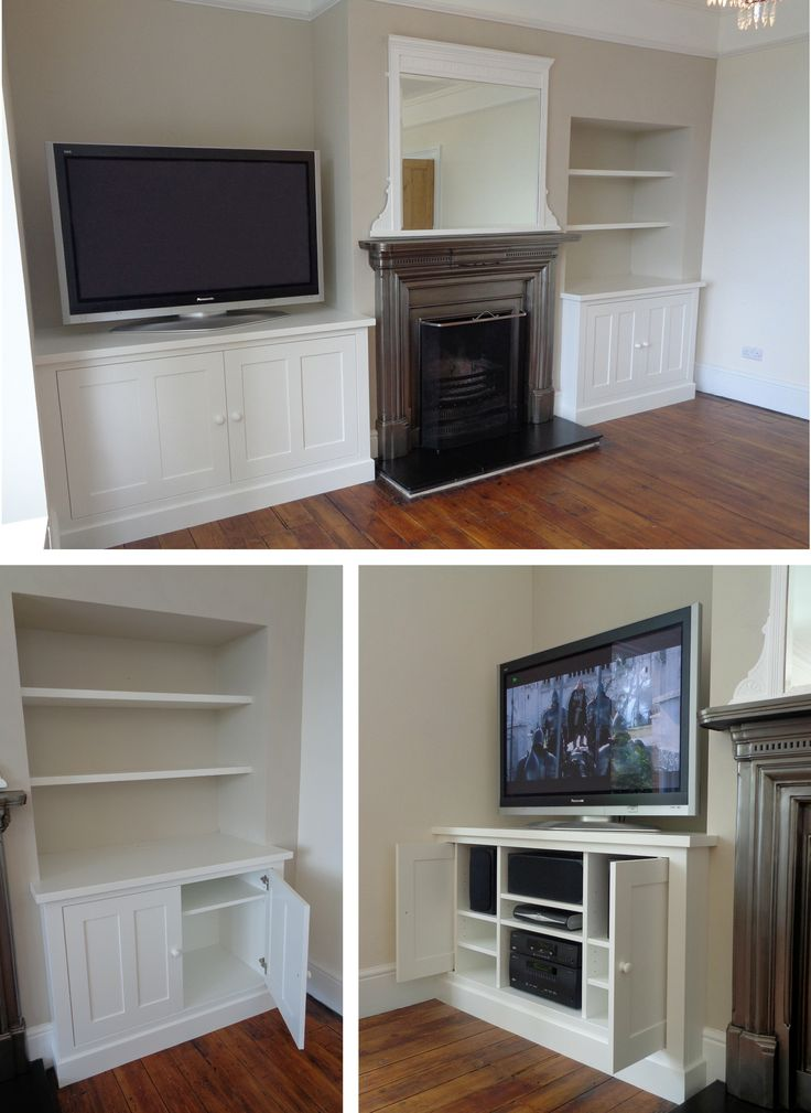 TV & Log Cabinets - 2015. Commission to design and build this pair of hand painted alcove cabinets. The TV cabinet had to provide accommodation for associated sound and satellite equipment with pocket doors for ease of access. The Log cabinet was built to take baskets of firewood with interior shelves for newspapers, fire lighters etc... Above, open shelves were fitted for display items.