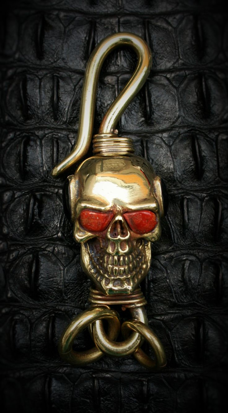 Skull Brass Hook Key Chain (Spooky Steampuck Style) - GBK008: from Etsy Shop 'Mygoth'