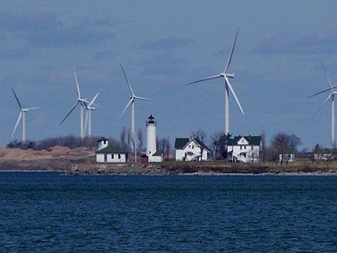 Tibbetts Point Lighthouse, Cape Vincent, New York, after construction of industrial wind turbines on Wolfe Island, Ontario