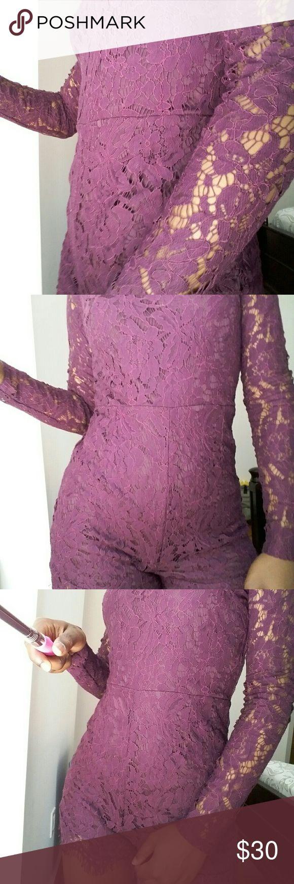 *FLASH SALE* HUGS YOUR CURVE DEEP PURPLE ROMPER Deep purple romper with lace sleeves Dresses