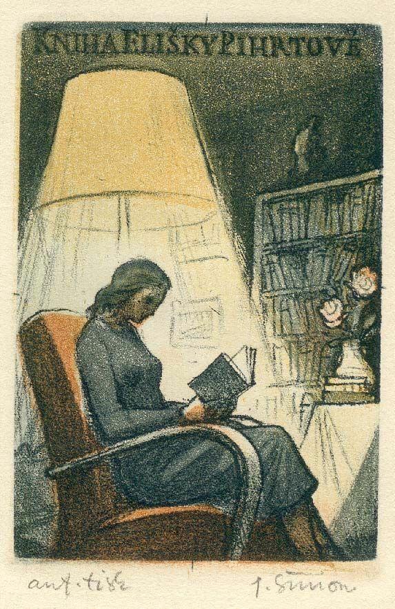 Kniha Elisky Pihrtové Ex-libris (c.1952). Artist: Pavel Šimon (Czech, 1920-1958). Colour soft ground and aquatint. Artist's proof...