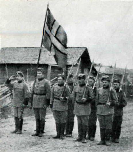 Soldater ur Norra Ingermanlands regemente med flagga.