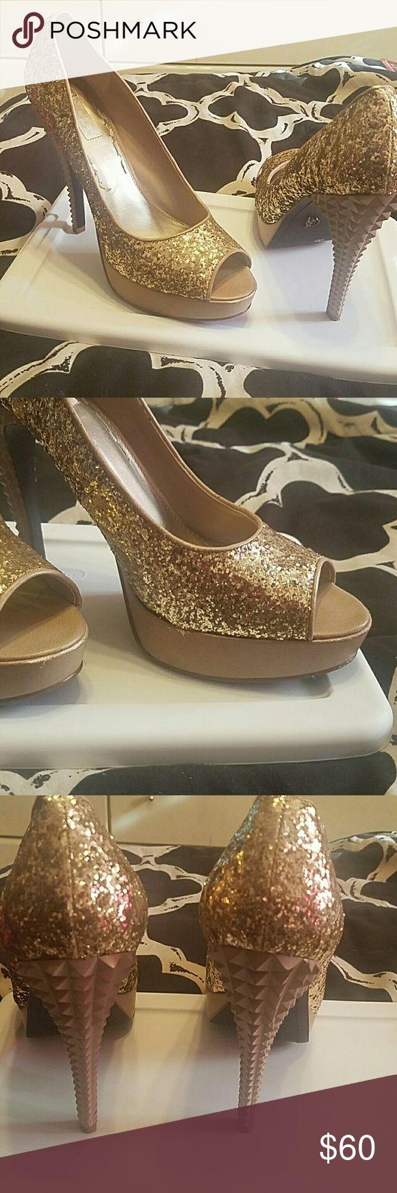 Rachel Roy Gold Glitter Stelletos Sexy peep toe gold stelletos by Rachel Roy worn once.. RACHEL Rachel Roy Shoes Platforms