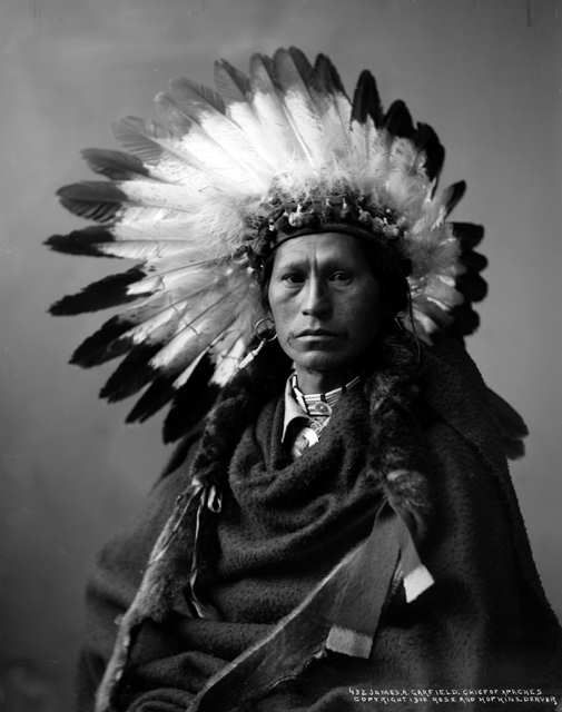 Studio portrait, head and shoulders, of James A. Garfield, Chief of Apache Native American tribe, ca. 1900