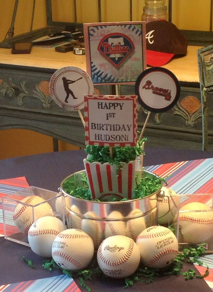 Baseball theme party centerpieces