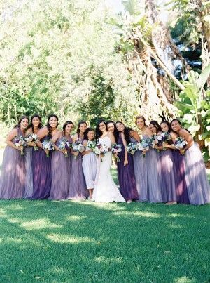 hues of lavender bridesmaid dresses - photo by Kylie Martin Photography