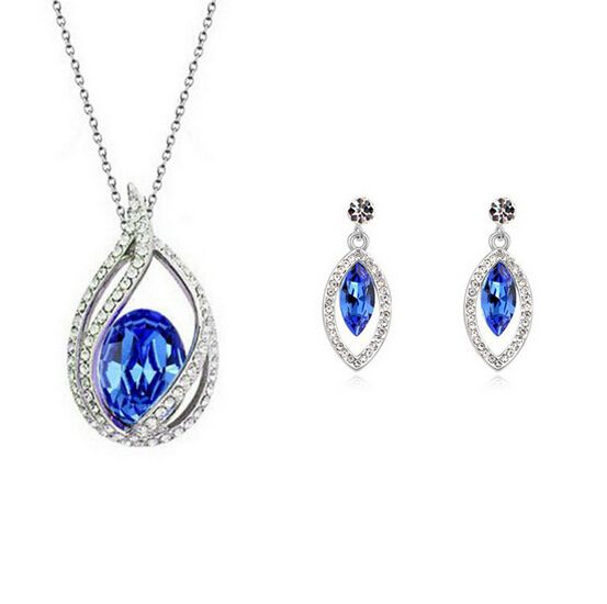 Austria Crystal Jewelry Sets White Gold Plated Bridal Wedding Jewelry Sets Nickel Free African Costume Jewelry Set For Women