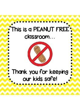 Here's a simple sign to hang on your door or outside of your classroom in case you have any students with peanut allergies!