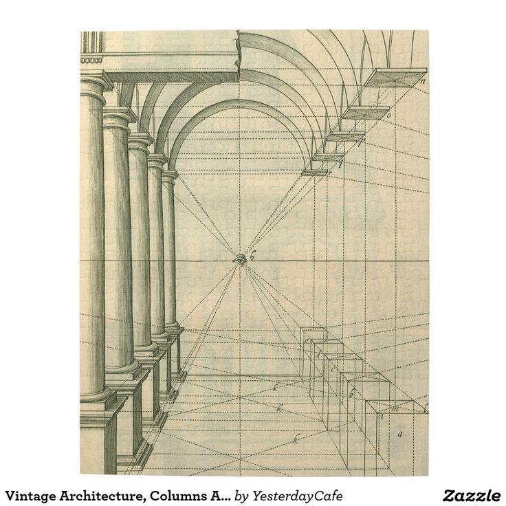 Arquitectura del vintage, perspectiva de los arcos puzzle con fotos