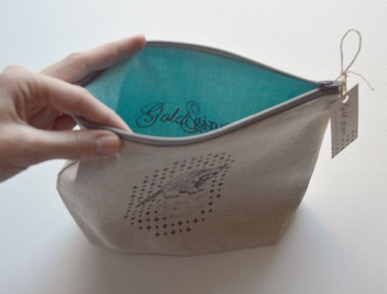 Raccoon silk screen printed cotton and linen make up bag http://www.etsy.com/listing/170704664/raccoon-silk-screen-printed-cotton-and?ref=shop_home_active_11