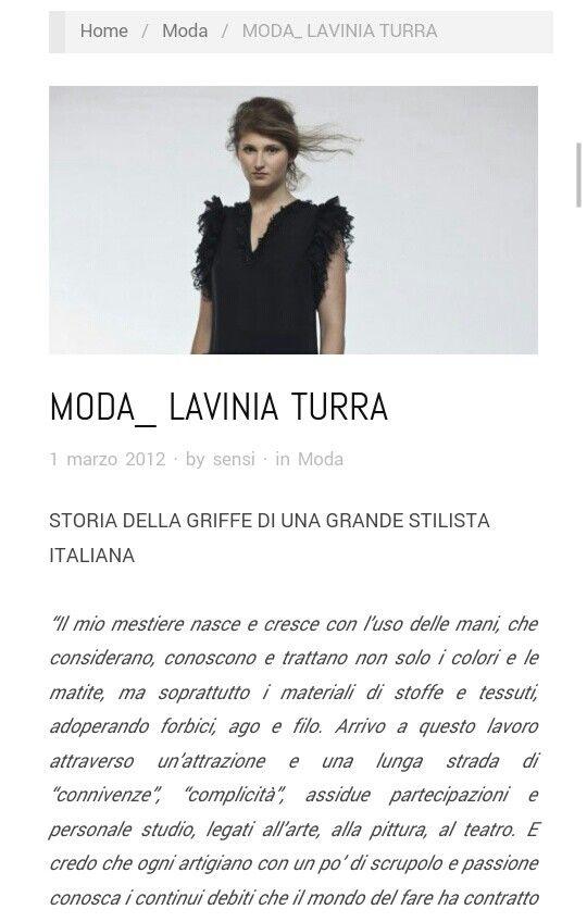 Sensimagazine.it / marzo 2012 / intervista a Lavinia Turra / http://www.sensimagazine.it/sensi/moda/moda_-lavinia-turra