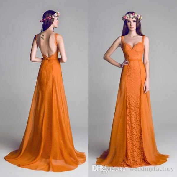2016 Orange Evening Gown A Line Backless Straps Sweetheart Lace Chiffon Over Skirts Long Formal Prom Party Dresses Custom Made Top Quality Black Formal Gowns Blue Evening Dresses From Weddingfactory, $148.75| Dhgate.Com