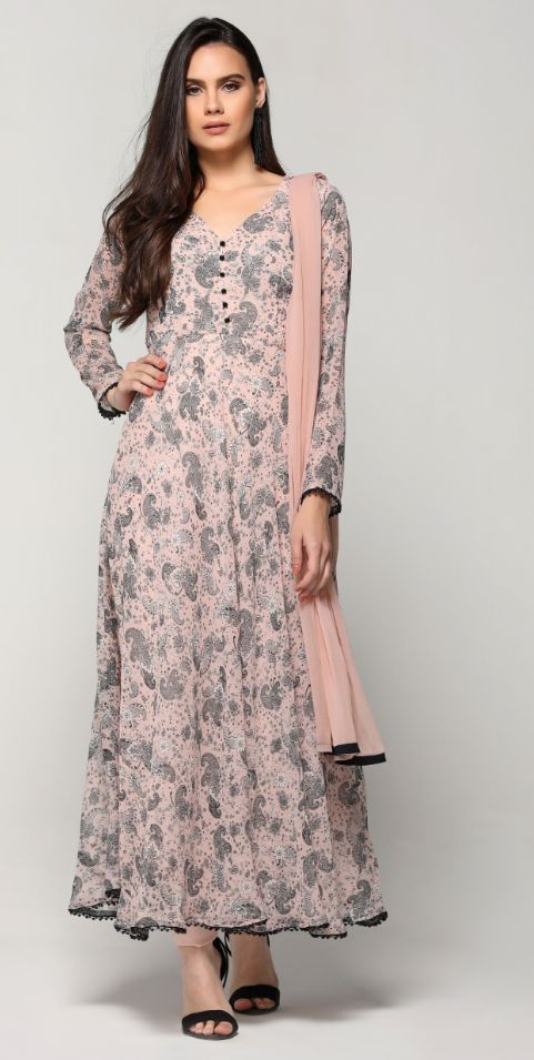 Baby Pink Flared Paisley Suit