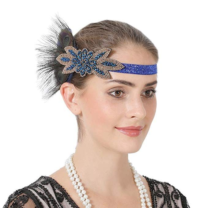 1920s Peacock Feather Flapper Headband Wedding Party Headpiece Accessories