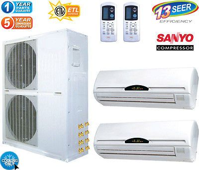 5 TON Dual Zone Ductless Mini Split Air Conditioner 60000 BTU: 30000 x 2 / COOL