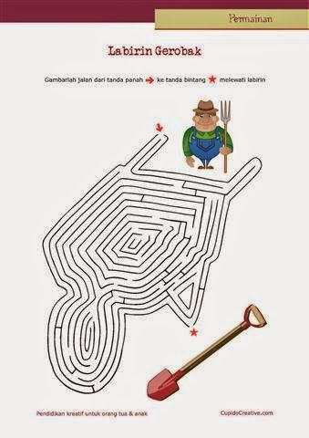 permainan anak untuk PAUD (balita/TK), gambar labirin/maze : gerobak