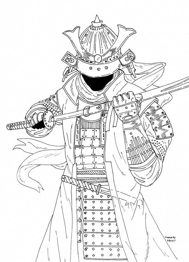 Coloriage Samourai En Couleur Et Dessin Gratuit A Imprimer Dessine Les Coloriages Samourai En Couleur De Des Dessin Gratuit Art Du Tatouage Japonais Coloriage