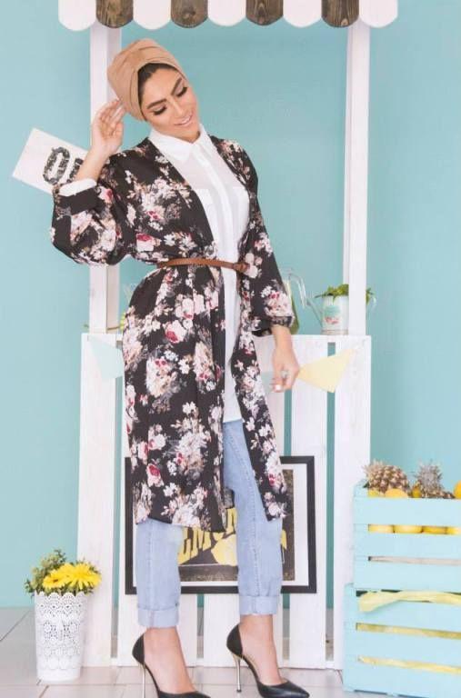 long floral kimono cardigan with hijab