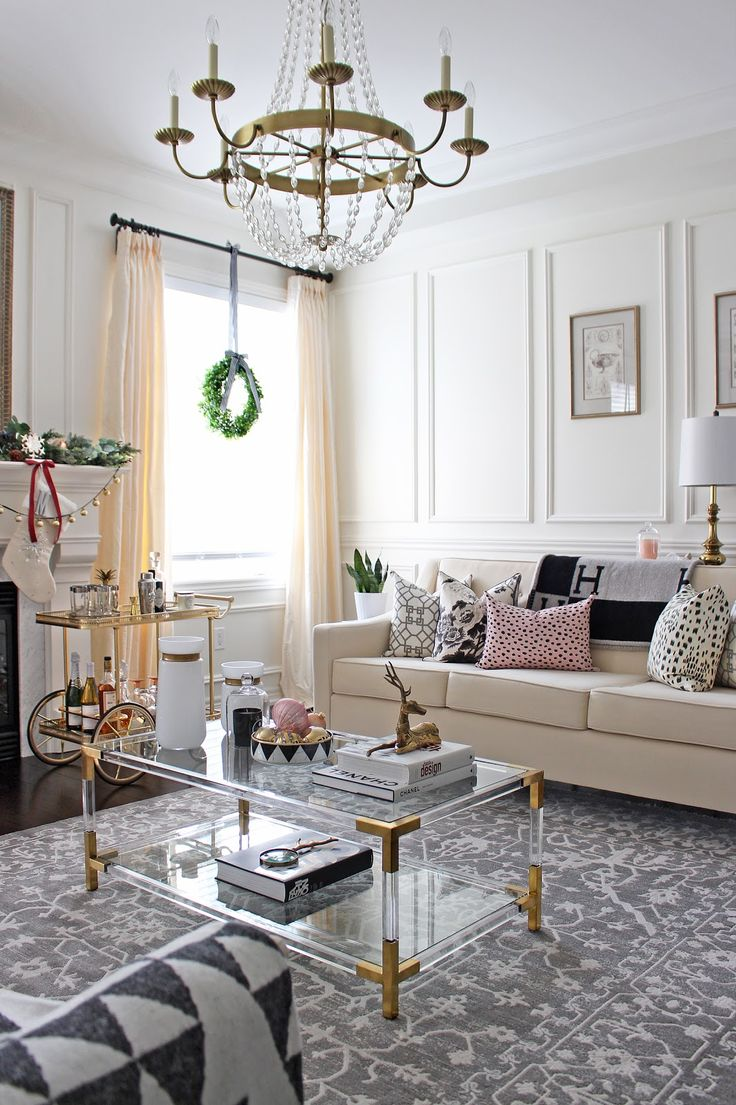 ELTE Brass and Lucite Coffee Table, coffee table styling, Circa Lighting Paris Flea Market Chandelier, grey rug, elegant living room design, DIY christmas decor, feminine and sophisticated