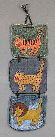 clay ceramic wall piece cat by sara swink