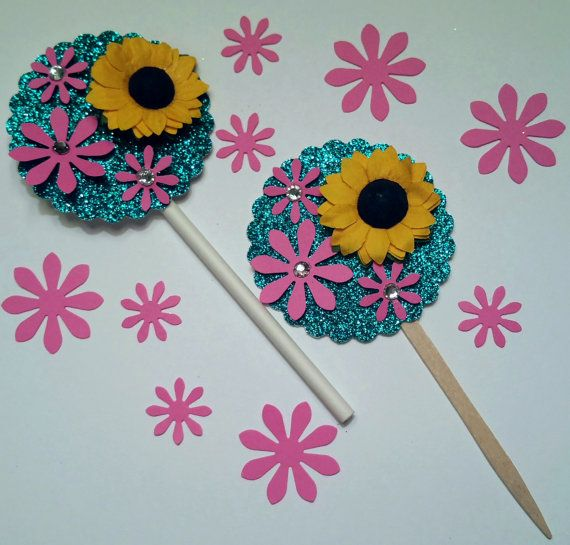 Disney Frozen Fever themed cupcake toppers with free 50 pc daisy confetti! Birthday party favor table decor Elsa Olaf Anna sunflowers daisies