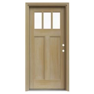 3 Lite Unfinished Craftsman Auralast Pine Solid Wood Entry Door With Unfinished Jamb