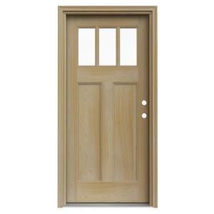3 lite unfinished craftsman auralast pine solid wood entry for Wood doors at home depot