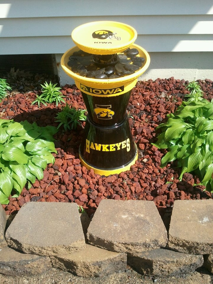 Finished my very own terra cotta bird bath! Iowa Hawkeyes, of course!
