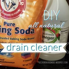 """Here's an all-natural way to clean drains: shower drains, kitchen sinks, bathroom sinks, and more. I tried this on our kitchen sink (after a disgusting """"mystery"""" smell took over, which was coming from the drain – gross!) and it worked great. The kids loved watching so they could hear the """"fizz"""" in the drain after the vinegar mixed with the baking soda."""