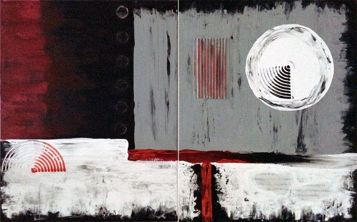 Naam: Cirkels serie : Afmetingen: :80x50:  Extra informatie: handschilderd; acrielverf en oliverf op canvas doek; meegeschilderde zijkanten; direct op te hangen;  gesigneerd.