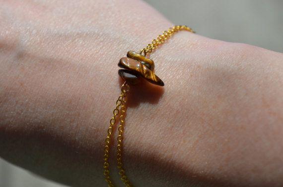Tigers Eye Bracelet Dainty Gold Chain Bracelet Birthstone Jewelry 3 Stone…
