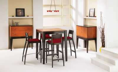 Modern Bar height table, make it your own with great selection of finish and fabric options, all made in Canada