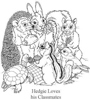 """Hedgie Loves his Classmates"" Forest animals coloring page courtesy of Jan Brett - a children's book illustrator! Her page has a whole collection of coloring pages."