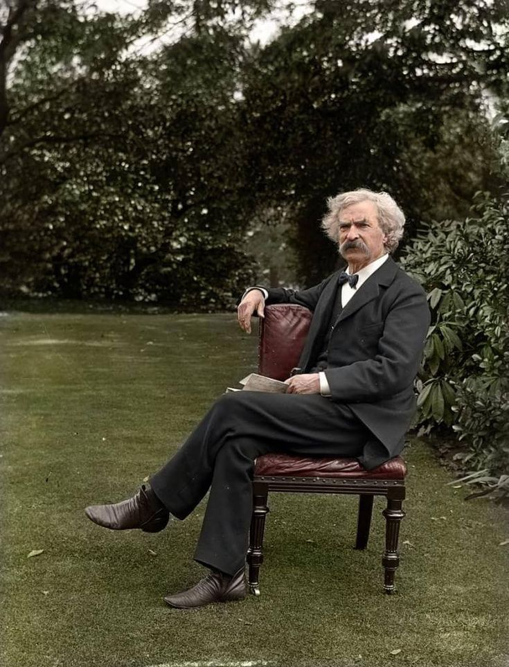 Mark Twain, 1900  30 Iconic Black & White Old Pictures That Look Amazing In Colour • Page 2 of 6 • BoredBug