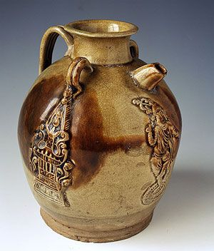 Brown Speckled Porcelain Ewer with Dancing Figure Design Tang Dynasty ( ca.618-ca.906 A.D.) Currently in : Hunan Provincial Museum