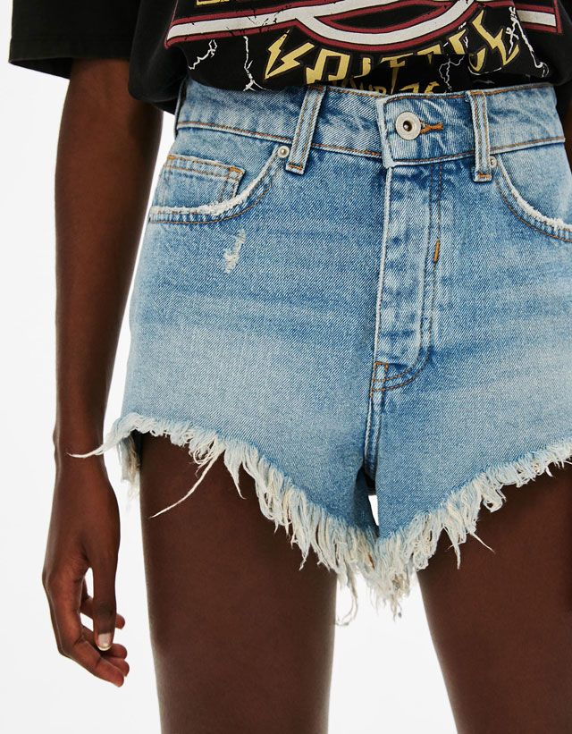 Vintage asymmetric denim shorts - Bershka #vintage #asymmetric #denim #shorts #woman #bershka