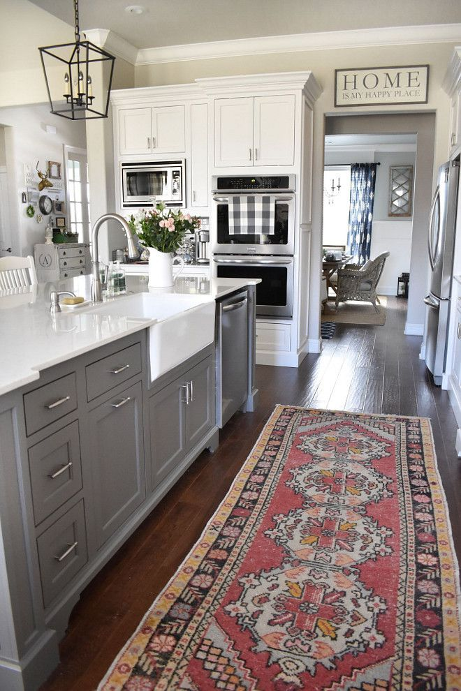 Gauntlet Gray SW 7019 Sherwin-Williams. Grey Kitchen Island Paint Color Gauntlet Gray SW 7019 Sherwin-Williams #GauntletGray #SW7019 #SherwinWilliams Beautiful Homes of Instagram @ourvintagenest