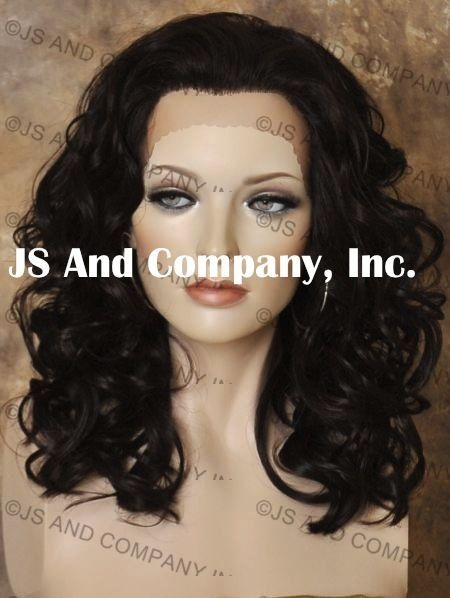HEAT SAFE Curly Wavy Lace Front Wig Medium Length Dark Brown CO 4 #FullWig