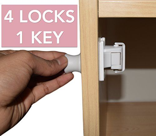 Akeekah LAUNCH PROMO Child Safety Cupboard Locks Set 4 Locks   1 Key. Magnetic Locks for Cabinet andamp