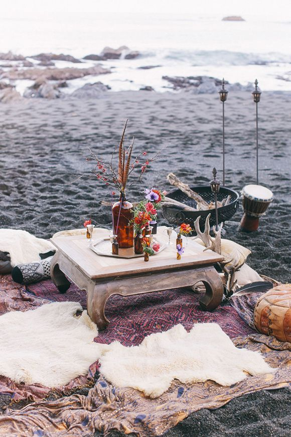 fun ways to use a lovely vintage rug in a happy hour set up