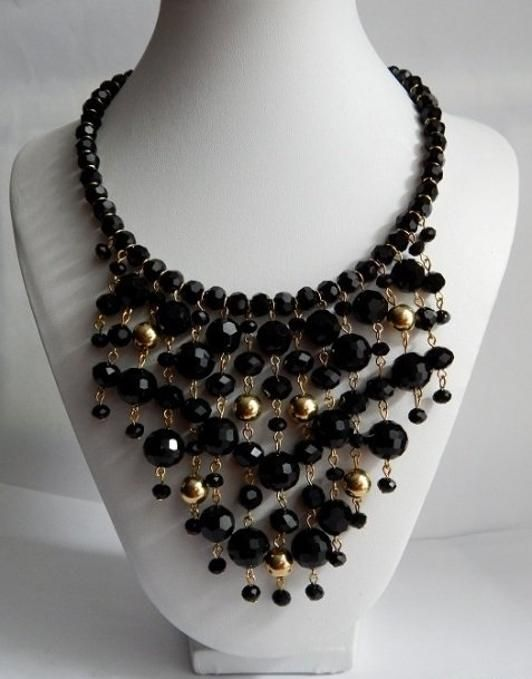 Black Crystal Bib Necklace