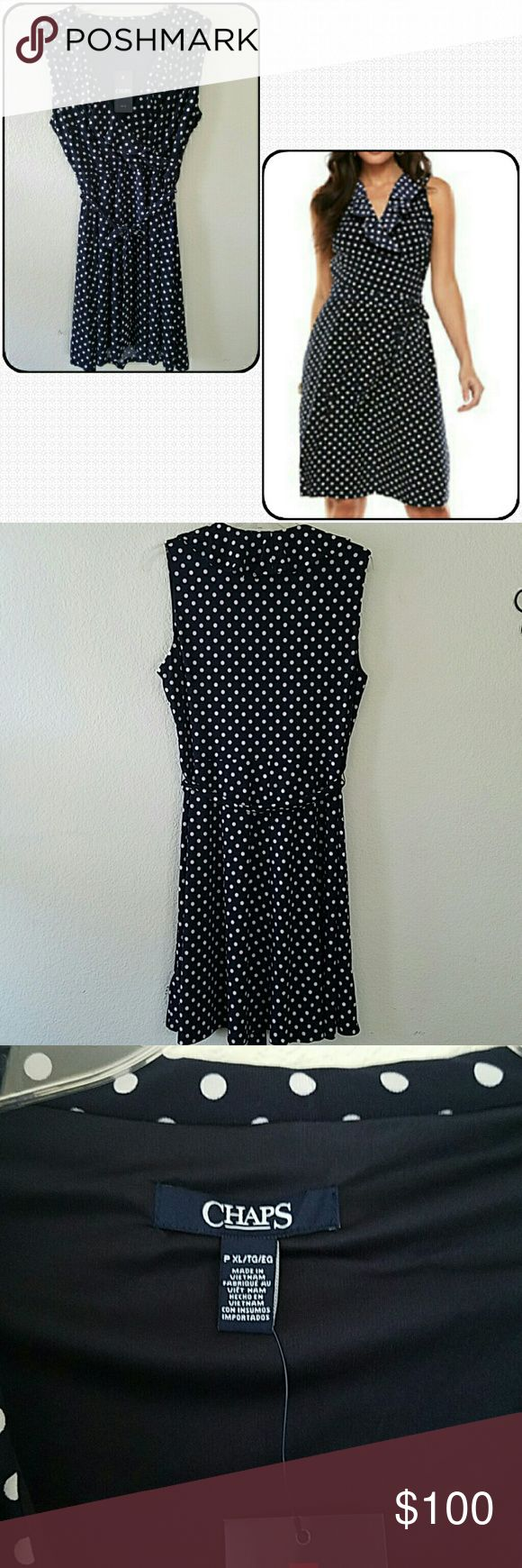 """Chaps Surplice Dress Brand new with tags petite Chaps Polka Dot Surplice dress. Ruffled neckline. No damages. Navy and white. Approx armpit to armpit without stretching 19"""". See 4th pic for details. Chaps Dresses"""
