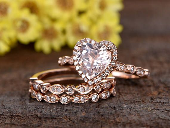 7mm heart shaped pink Morganite engagement ring sethalf