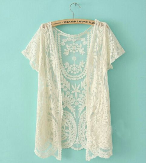Loving this!!!  This one size kimono is covered with dainty-sheer mesh, featuring crochet embroidery throughout. The scalloped trim will have others absolutely swooning over how effortlessly boho chic you will look! Can't decide which color you love