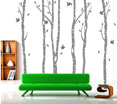 Inspirational Aus Vinyl gro in Wei Birke Baum Wandtattoo Kinderzimmer Wandaufkleber