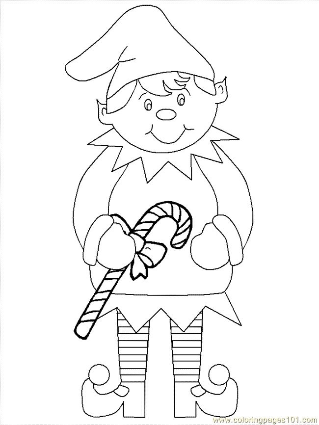 Coloring Pages Elf Christmas
