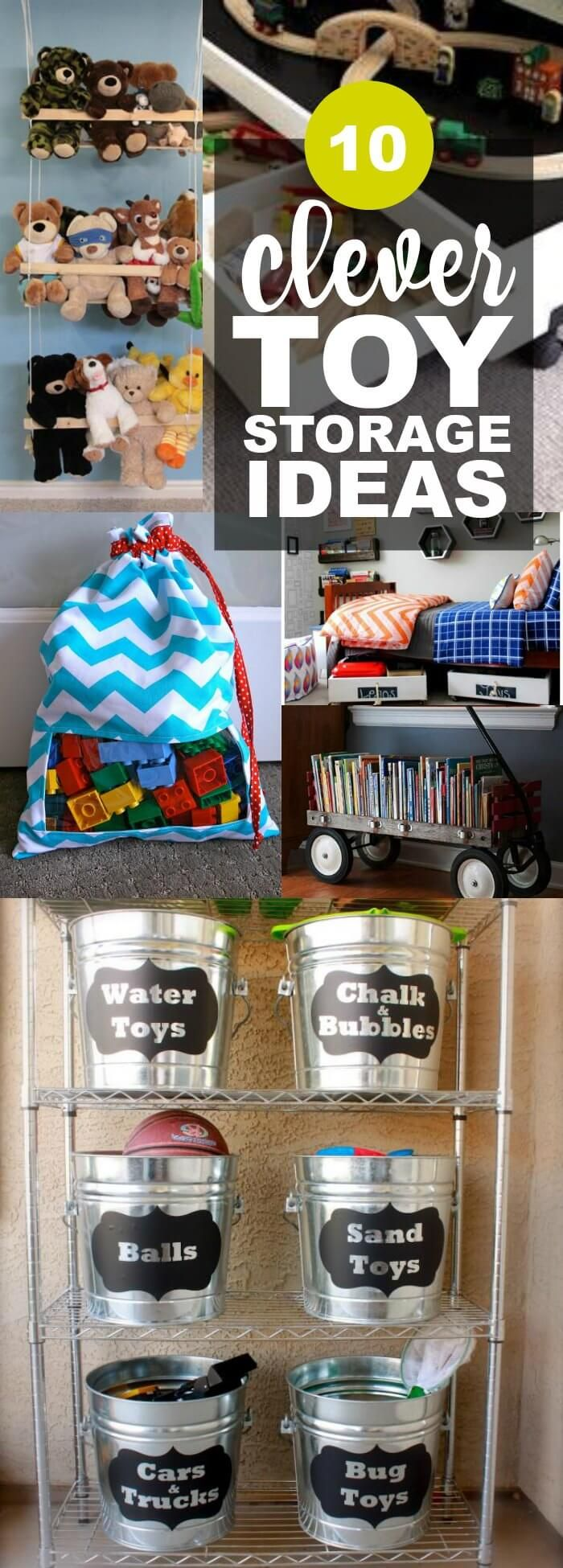 I have put together this list of clever toy storage ideas such as a DIY peek-a-boo toy sack, a DIY stuffed animal swing, hanging planter toy storage, a clever way to organize outside toys, a DIY wagon book shelf, a DIY toy storage bin, a DIY matchbox car garage, a DIY side storage book shelf, a rolling under bed storage cart, and an oh-so-cute under the bed play table. Organization is a beautiful thing! via @spaceshipslb