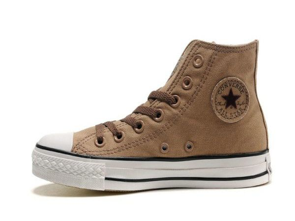 Converse All Star Unisex Brown Flocked Star prints High Top Canvas Shoes on sale,for Cheap,wholesale from China