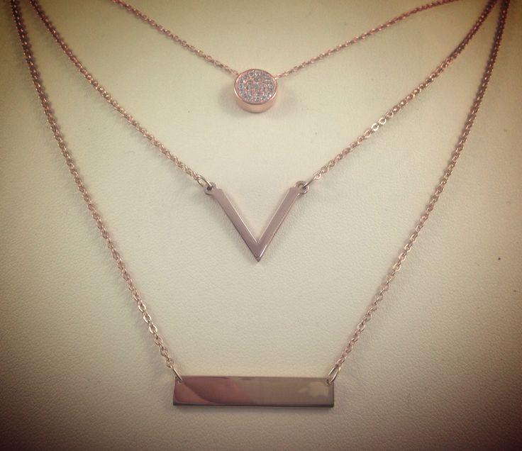 Rose gold necklaces. Disc necklace, V necklace, bar necklace. Available @Macchia Jewellery, Horsham Vic, AU