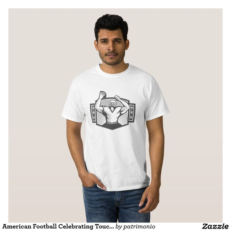 American Football Celebrating Touchdown Grayscale Tee Shirt. Men's sports t-shirt showing an illustration of an American football gridiron celebrating a touchdown facing front set inside a shield with stars and sunburst done in black and white grayscale retro style on isolated background. #Americanfootball #olympics #sports #summergames #rio2016 #olympics2016